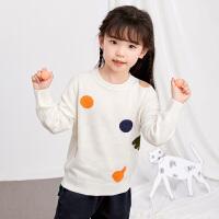 【券后�A估�r:121】�R拉丁童�b女童毛衣2020秋季新款套�^�A�I毛衣白色卡通印花�O�
