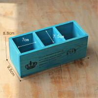 木质化妆品桌面遥控器收纳盒 复古镂空二格笔筒 多功能长方形木盒