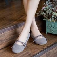 日系复古绒面系带蝴蝶结可爱圆头文艺学生平底大码单鞋女鞋豆豆鞋
