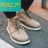 新品上市中帮马丁靴男秋季英伦复古马丁鞋男靴子青少年鞋子皮靴男真皮短靴 卡其