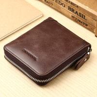 曼邦男士短款钱包男拉链复古钱夹横款多功能皮夹卡包
