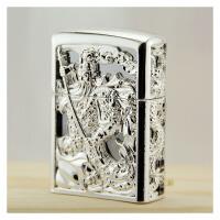 煤油打火机关公镂空银色铜制精美礼盒打火机