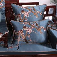 中式抱枕红木沙发靠垫套中国风刺绣飘窗靠枕客厅卧室家用订做定制 深蓝色 鸟语花香