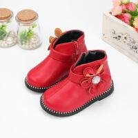 女����小短靴女童靴子秋冬棉靴2018新款公主1-3�q6�和��R丁靴