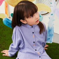 【秒杀价:153元】马拉丁童装女大童衬衫春装2020年新款设计感纽扣儿童打底衬衫