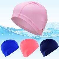 花色纯色布泳帽泳镜套装 舒适温泉不勒头游泳帽 男士女士儿童
