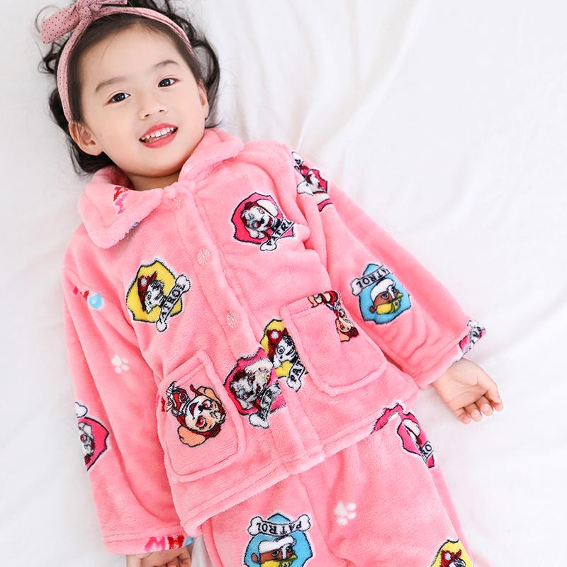 儿童睡衣珊瑚绒长袖法兰绒春秋冬季女童男童装家居服宝宝小孩套装