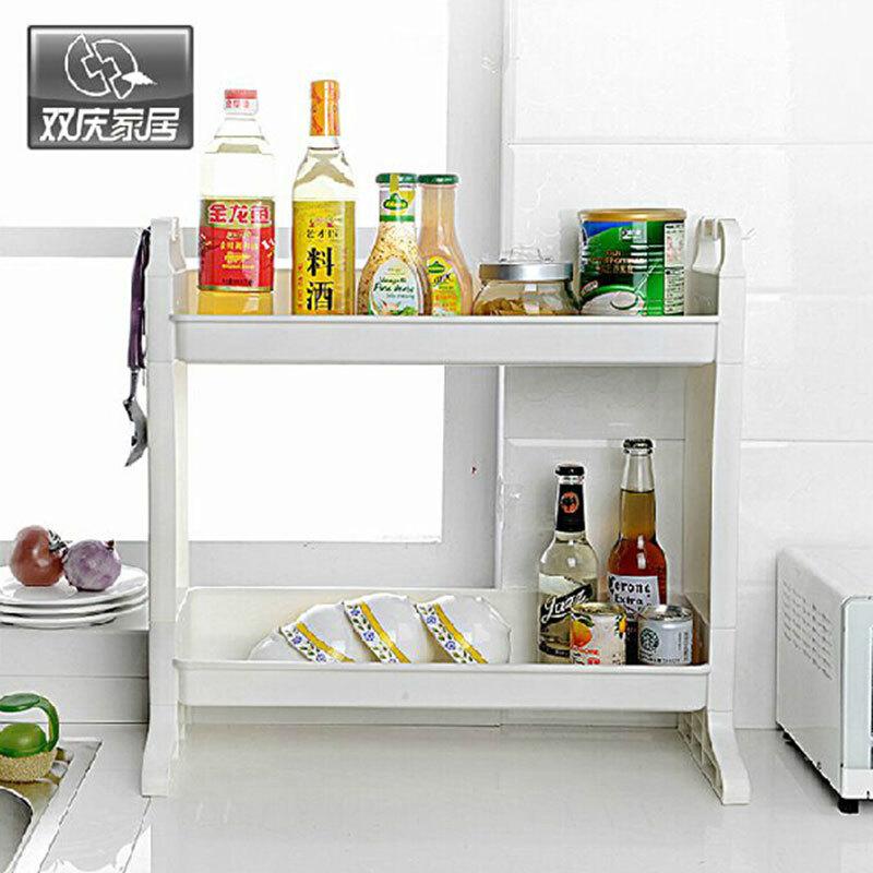 1060厨房两层角落架调味架落地收纳架调味品带挂钩置物架收纳架厨房置物架调味架双层置物架