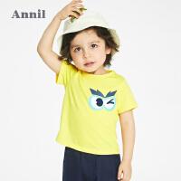 【2件4折价:47.6】安奈儿童装男童T恤夏季短袖宝宝上衣2021新款纯棉幼儿宽松打底衫