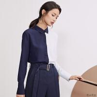 新款雪纺加绒衬衫女长袖撞色拼接保暖衬衣韩版职业装上衣