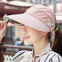 帽子女夏天防紫外线大沿沙滩帽防晒遮阳帽可折叠凉帽太阳帽空顶帽