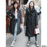 女装冬季羽绒服女中长款2018新款韩版修身过膝女士时尚外套大码 黑色