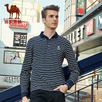 骆驼男装 新品冬款青年翻领条纹打底衫 商务休闲长袖T恤男士