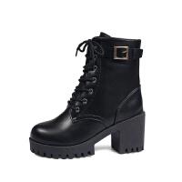 新款雪靴地黑色马丁靴 欧美风粗跟高跟学生橡胶纯色马丁靴皮靴女 黑色