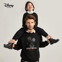 迪士尼亲子装父子装黑色时尚米奇套头卫衣秋冬加绒洋气外套潮