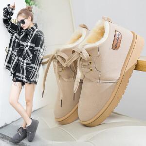 雪地靴女棉鞋女冬季新款百搭加绒保暖棉鞋加厚靴子短筒系带学生休闲雪地靴女3314NX