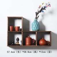 墙壁置物架中式 实木中式挂墙壁挂装饰墙上置物架茶架茶具架古董简约 1米以下