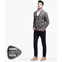 男士开衫外套   时尚休闲加厚款翻领毛衣 欧美长袖针织衫