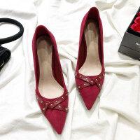 网红高跟鞋女秋尖头细跟女鞋韩版百搭少女新款春季黑色铆钉单鞋女