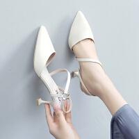 【掌柜推荐】ZHR2019春季新款高跟鞋女细跟百搭网红凉鞋女浅口尖头猫跟单鞋