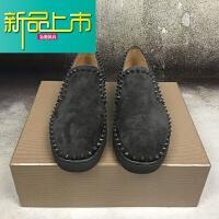 新品上市C C男鞋低帮休闲女鞋欧美圈铆钉红底鞋一脚蹬板鞋情侣款 灰色