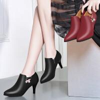 女鞋秋款高跟鞋女士皮鞋深口单鞋粗跟中跟大码妈妈职业工作鞋
