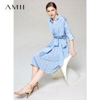 【到手价236.9元】Amii极简洋气设计感心机连衣裙女2019夏季新翻领绑带条纹衬衫裙子