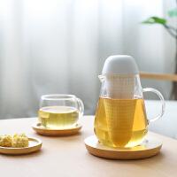日式双层玻璃茶杯茶水分离泡茶杯子水杯透明过滤一体泡茶壶