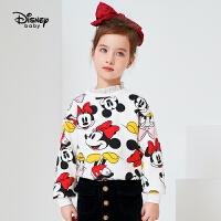 【限�r秒��r:55元】迪士尼女童�l衣秋冬新款加�q洋�馔��b�M印卡通米妮�和�����上衣