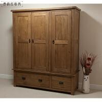 储物柜 全实木家具 三门衣柜 衣橱 3门
