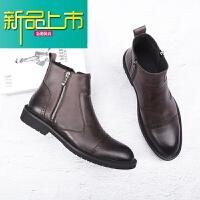 新品上市秋冬季马丁靴男英伦复古百搭男士靴子韩版潮流短靴加绒尖头