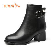 红蜻蜓女鞋18冬季真皮保暖中筒靴粗跟女靴头层牛皮时尚百搭短靴