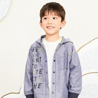 【6折价:237.06元】马拉丁童装男童外套春装2020新款图案不规则设计风衣连帽外套