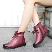 妈妈鞋棉鞋女加绒保暖中老年短靴滑中年女鞋平底老人皮鞋