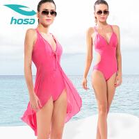 浩沙连体三角泳衣女 小胸保守遮肚显瘦性感露背披纱二件套