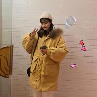 新年特惠外套女冬港风工装加厚大毛领袄子冬装女潮中长款 均码