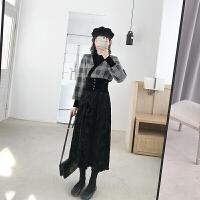 新年特惠2019冬装新款时尚套装女V领气质拼接上衣加收腰半身裙两件套