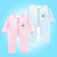 婴儿连体衣服夏天开档薄款幼儿宝宝睡衣爬爬空调服长袖