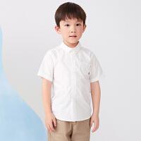 【1件秒杀价:120】马拉丁童装男大童衬衫2020夏装新款分割线设计翻领短袖白衬衫