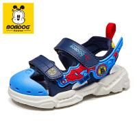 巴布豆儿童2021夏季凉鞋男童时尚女童软底新款宝宝包头休闲沙滩鞋-深蓝红