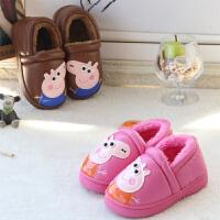 儿童棉拖鞋包跟男女童冬季保暖PU皮防水加绒宝宝居家拖鞋