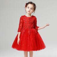 儿童礼服公主裙女童晚礼服红色小花童婚纱生日蓬蓬裙走秀演出服春