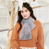 韩版围巾女秋冬季仿羊绒围巾冬天仿兔毛围脖厚交叉小围巾
