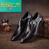 新品上市新款纹男鞋真皮男士商务正装皮鞋英伦尖头鞋搭扣婚鞋潮男单鞋