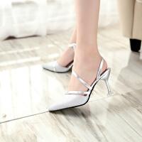 2017夏季新款尖头亮片细跟高跟鞋包头一字扣带性感7厘米凉鞋女鞋