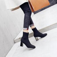 2019春秋新款网红瘦瘦靴弹力袜子靴毛线针织马丁靴粗跟高跟短靴女