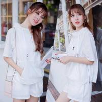 韩版运动服套装女夏宽松套短袖连帽卫衣短裤两件套透气休闲跑步服 白色
