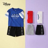 迪士尼宝宝男童两件套快乐星球针织撞色短袖短裤套装夏季新品