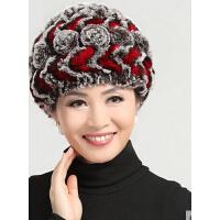 新款时尚皮草女士帽子保暖加厚兔毛帽子 女毛线针织女帽子