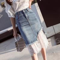 牛仔半身裙女春夏季中长款高腰水溶蕾丝网纱拼接不规则毛边包臀裙 蓝色